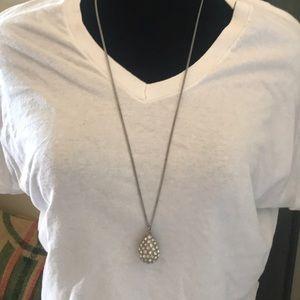 Oversized pave tear shaped pendant necklace